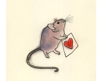 "Valentine's Day mouse art print -  A Little Love -  8.3"" X 11.8"" print - 4 for 3 SALE"