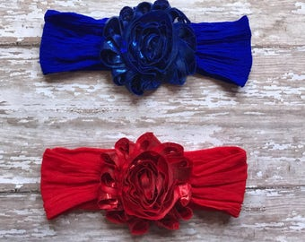 Adorable Nylon Newborn/Baby Headbands: Metallic Blue or Red chiffon flowers on matching nylon stretch headbands Newborn, Baby, Girls