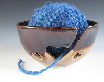 Ceramic Yarn Bowl, Pottery Knitting Bowl, Hearts, Brown, Tan