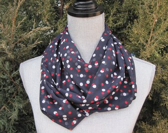 Infinity scarf, fabric scarf, tube scarf, loop scarf, eternity scarf, long scarf,  navy scarf, statement scarf, power scarf, classic scarf