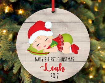 Baby's Girl First Christmas Ornament, Personalized Christmas Ornament, Custom Ornament, Blonde Baby Girl Christmas Ornament (0084)