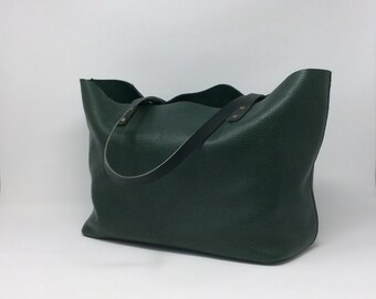 Green Leather Tote bag. Handmade with the highest quality full grain leather