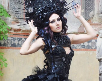 EMPRESS VENOMA Gothic Headdress WGT Black Spikes Lace  Elegant Headpiece