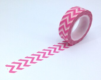 Pink Chevron Washi; Masking Tape; Decorative Tape; Japanese Tape; Filofaxing; Planner; Erin Condren; Kawaii Stationery; Cute Stationery
