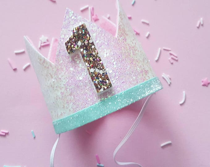 Glittery Birthday Crown | Birthday Crown | 1st Birthday Crown | Girl Birthday Crown | Baby Birthday | Pink and confetti | Ready to Ship