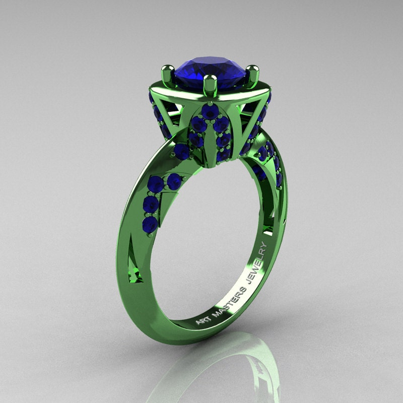 rings green blue engagement sapphire serena setting