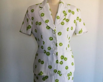 Women's Skirt Suits, 80's  White Suit, Floral Skirt Suit, White Suit with Green Flowers, Viscose Suit, Shoulder Pads
