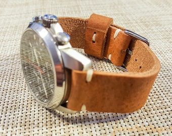 Horween leather watch strap, English Tan color, handmade in Finland - 16mm, 17mm, 18mm, 19mm, 20mm, 21mm, 22mm, 23mm, 24mm, 25mm, 26mm.