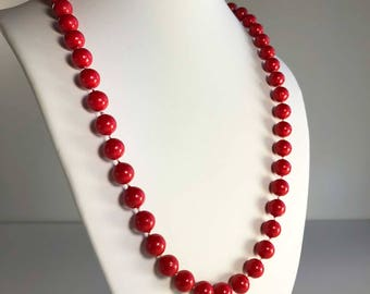 Long Red Beaded Vintage Necklace - 80s Necklace