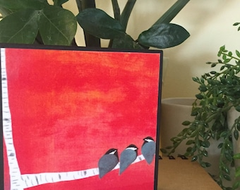 Red with 3 blackcap chickadees wall decor