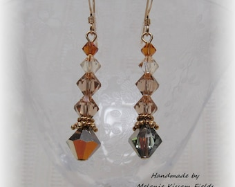 Swarovski Crystal Rust Copper Color and Gold Drop Earrings