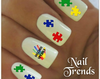 Autism Awareness Nail Decal 25  Vinyl Adhesive Decals Nail Tattoos  Nail Art