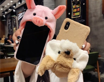 A Beautiful Pig Dog Hat Fur Case For iPhone