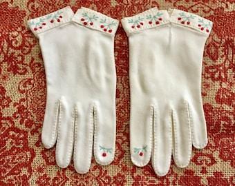 Vintage Gloves Formal Gloves Women White Gloves Ivory Gloves Wedding Gloves Bridal Gloves Flower Girl Gloves Embroidered Gloves Cherry Decor