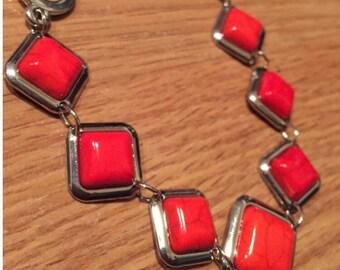 Red stone bracelet, chain bracelet, link bracelet