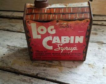 Vintage Log Cabin Syrup Tin / Log Cabin / Tin Collectible / Vintage Advertising / Antique Tin / Farmhouse Decor / Log Cabin Decor / Rustic