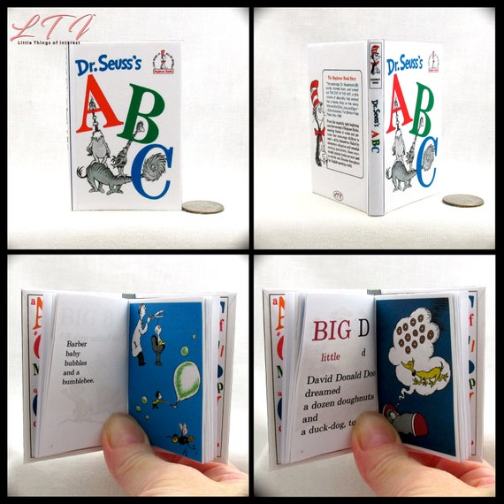 DR. SEUSS'S ABCS Book in 1:3 Scale Readable Illustrated Book American Girl Accessories Children's Nursery Story 18 inch Ag Doll 1/3 Scale