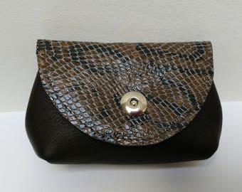 elegant brown and snake skin leather wallet coin purse makeup case etui bag