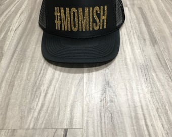 Momish Trucker Hat #Momish Mom Trucker Hats Women's Trucker Hat Mom Hats Glitter Trucker Hat