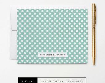 Flat or Folded Note Cards // Set of 10 // Teal & White Polka Dots with Name // Personalized Stationery // S101