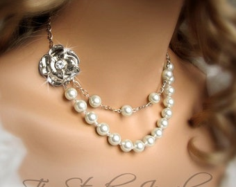 Pearl Bridal Necklace Double Strand Romantic Silver Flower Clasp - EMILY