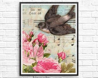 Bird Wall Art, Vintage Bird Art, Rose Wall Art, Printable Wall Art, Printable Art, Wall Art, Wall Decor, Printable, Art Print, Wall Print