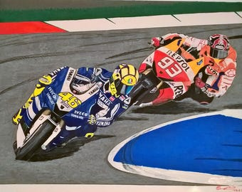 An original freehand drawing of Moto GP Valentino Rossi
