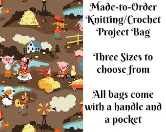 Harmony Farm - Brown, Knitting Project Bag, Large Project Bag, Drawstring, Zippered, Sock Sack, Yarn Tote, Sock Project