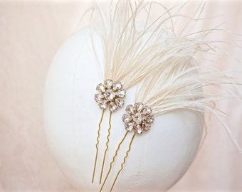 Gold Rhinestone Hair Pins,Gold Bridal Hair Pins,Gold Wedding Hair Pins,Ivory Feather Hair Pins,Ivory Feather Hair Piece,Feather Hair Pins