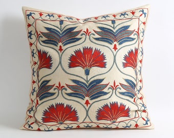 Floral Silk Suzani Pillow Cover Red Blue Beige