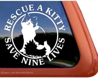 Rescue A Kitty.. | DC402RES | - High Quality Adhesive Vinyl Window Decal Sticker