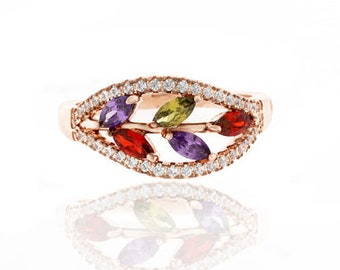 18kt Rose Gold Plated Micro Pave Gemstone Ring