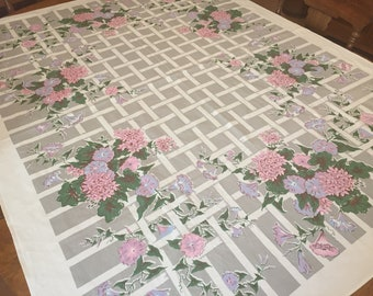 Vintage Cotton Tablecloth, 1950's Simtex Printed Gray Pink Morning Glory, White Trellis pattern, 52 x 66 rectangle