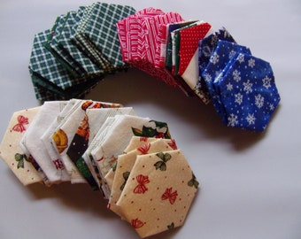 """pre-made English paper piecing hexagons 1.5"""", set of 50 Christmas hexagons, EPP made from fabric, , finished EPP hexagon sewing supply"""