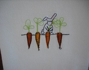 Carrot and Bunny Spring Flour Sack Towel. Machine Embroidered.