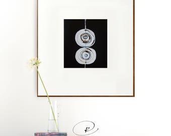 Original square circles abstract art, abstract, circles art, minimalist art, black and white abstract art, original ink art, drawing, art