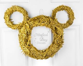 Glittery Gold Wishes Mickey Wreath / Mickey Mouse Wreath / Gold Wreath / Disney / Wreath / Gold / Glitter / Star / Monotone / Modern