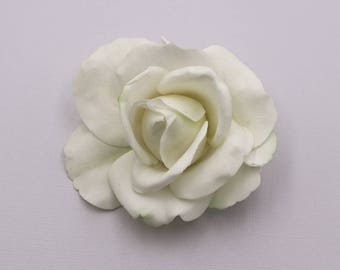 Real touch light ivory rose hair flower clip, wedding hair accessories, wedding flower pin, bridal hair accessories, real touch hair flower