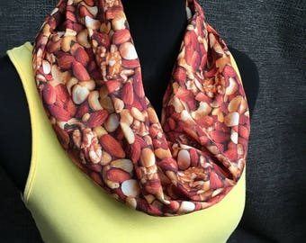 Nuts Scarf, Mixed Nuts, Cashew Scarf, Almonds, Infinity Scarf, Unique Scarf, Mr Peanut Scarf, Geeky Scarf, Peanuts, Salty