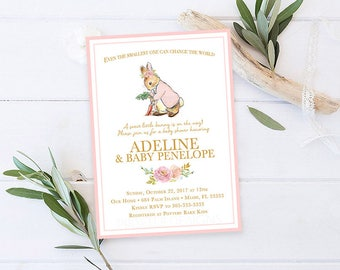 Peter Rabbit Baby Shower Invitation, Peter Rabbit Girl Baby Shower Invitation, Girl Baby Shower Invitation, Storybook Baby Shower Invitation