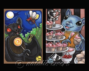 SALE SPECIAL - Batty Duo Art Prints Animal Bat Cupcake Firefly Anthro Black Fox Fruit Gothic Cute Pink Black Vampire Nocturnal Night Food