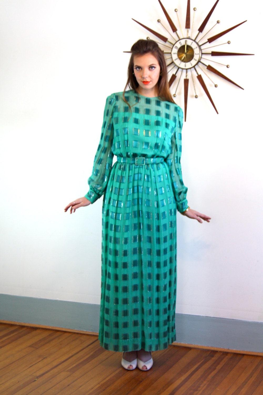 Vintage 60s dress, Emerald Green dress, 60s maxi dress, Nat Kaplan ...