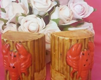 Vintage lobster trap salt and pepper shakers