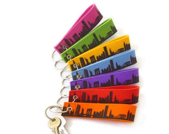 NEW YORK Keyring Keyfob Keychain Felt Loop colourful - City Loop Skyline  screenprint - handmade by 44spaces