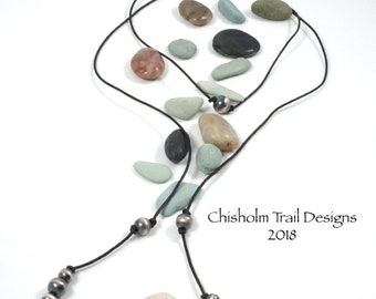 Southwestern style, Brown Leather Cord, Lariat Style Necklace or Wrap Bracelet with Sterling Silver Navajo Pearl Beads