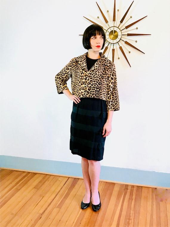 60s Leopard Jacket, Vintage 50s short coat, Leopard print jacket, Rockabilly coat,1950s Cheetah Jacket,Cropped Leopard coat,1960s Mod Jacket