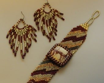 Free Form Peyote Stitch Beaded Bracelet Cuff  Beaded Sun Earrings - The Present - Bead Weaving - Jasper