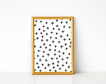 Plus Signs Print, Black and White Art, Abstract Art Print, Abstract Wall Art, Minimalist Art, Polka Dot Art Print, Modern Art Print