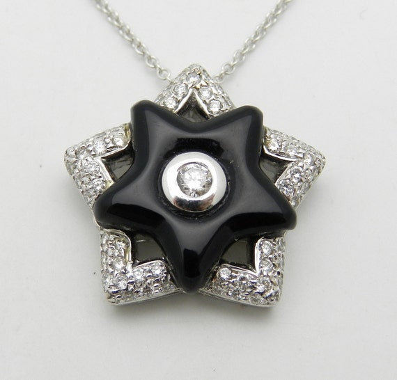 """Diamond and Onyx Black Star Pendant Necklace 18"""" Chain 14K White Gold"""