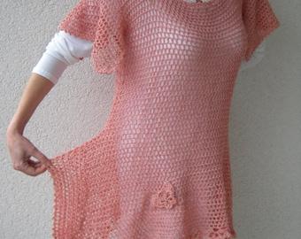 Dress, crochet shirt, tunic, shirt, crochet, corner tunic, Gr. 38-40